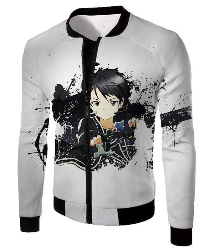 OtakuForm-OP Sweatshirt Jacket / XXS Sword Art Online Cool Hero Kirigaya Kazuto aka Kirito Action White Sweatshirt - Sword Art Online Sweater