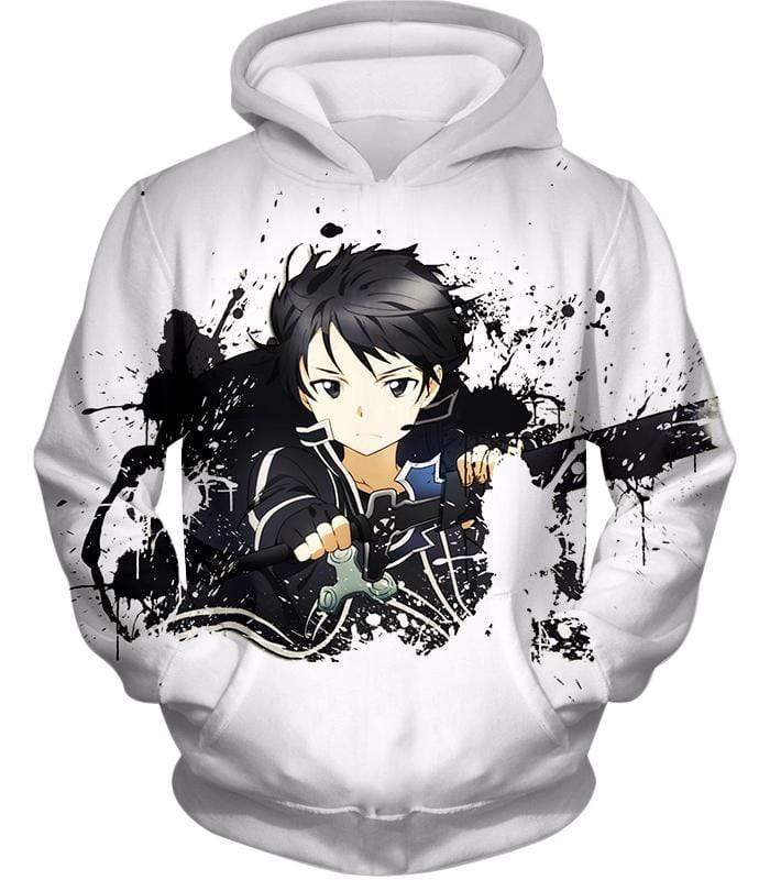 OtakuForm-OP Sweatshirt Hoodie / XXS Sword Art Online Cool Hero Kirigaya Kazuto aka Kirito Action White Sweatshirt - Sword Art Online Sweater