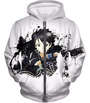 OtakuForm-OP Sweatshirt Zip Up Hoodie / XXS Sword Art Online Cool Hero Kirigaya Kazuto aka Kirito Action White Sweatshirt - Sword Art Online Sweater