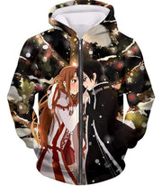 OtakuForm-OP Hoodie Zip Up Hoodie / XXS Sword Art Online Cutest Anime Couple Kirito and Asuna Awesome Anime Hoodie