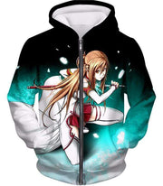 OtakuForm-OP Sweatshirt Zip Up Hoodie / XXS Sword Art Online Super Swordsman Asuna Cool Action Anime Graphic Sweatshirt