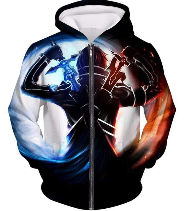 OtakuForm-OP Hoodie Zip Up Hoodie / XXS Sword Art Online Ultimate Player Kirito aka The Black Swordsman Cool Graphic Action Hoodie