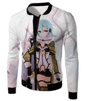 OtakuForm-OP Hoodie Jacket / XXS Sword Art Online Ultimate Sniper Gun Gale Online Player Asada Shino Cool White Hoodie  - Sword Art Online Hoodie
