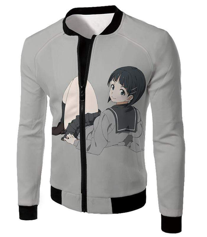 OtakuForm-OP Sweatshirt Jacket / XXS Sword Art Online Very Kirito Real Cousin Kirigaya Suguha Grey Anime Sweatshirt  - Sword Art Online Sweatshirt