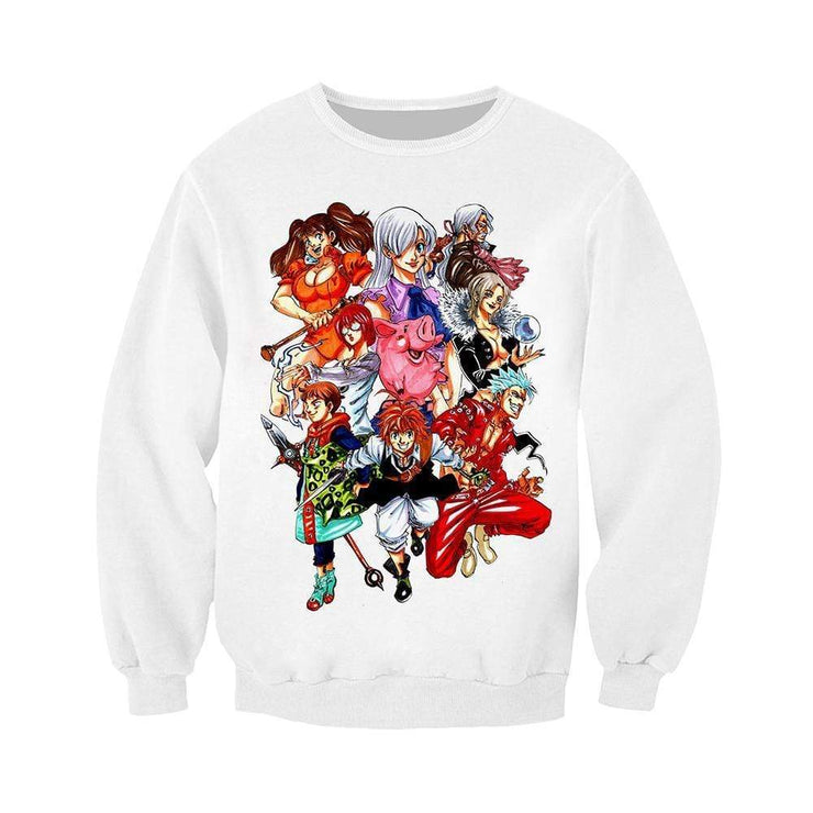 Anime Merchandise Sweatshirt M / White The Seven Deadly Sins Sweater  - Nanatsu no Taizai Sweater Sweatshirt