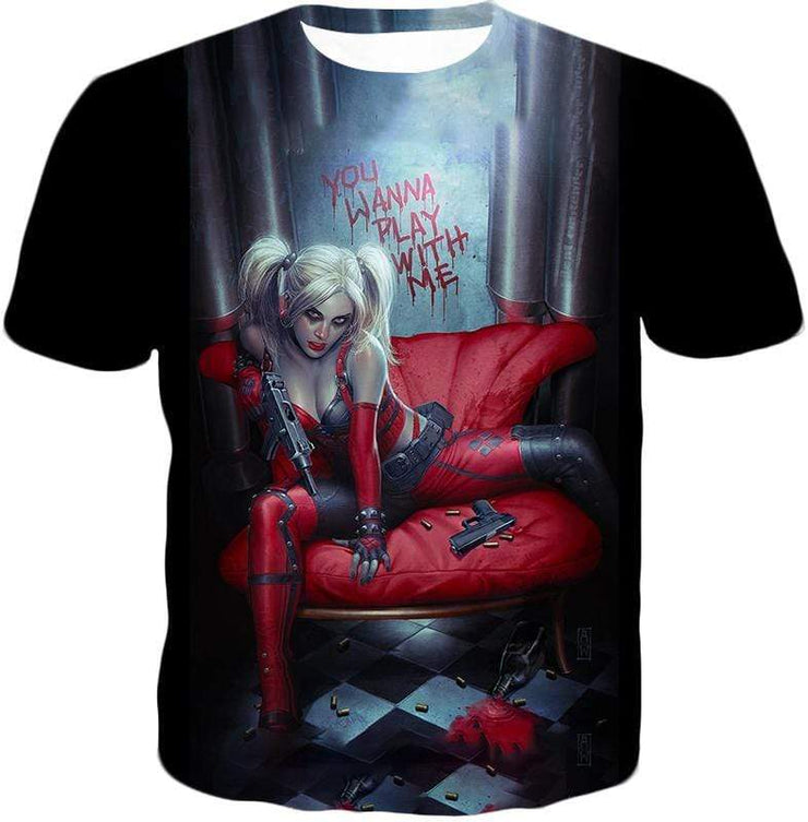 OtakuForm-OP Sweatshirt T-Shirt / XXS Ultimate Blonde Female DC Villain Crazy Harley Quinn Promo Black Sweatshirt