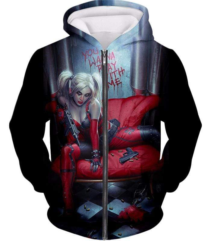 OtakuForm-OP Sweatshirt Zip Up Hoodie / XXS Ultimate Blonde Female DC Villain Crazy Harley Quinn Promo Black Sweatshirt