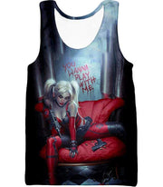 OtakuForm-OP Zip Up Hoodie Tank Top / XXS Ultimate Blonde Female DC Villain Crazy Harley Quinn Promo Black Zip Up Hoodie