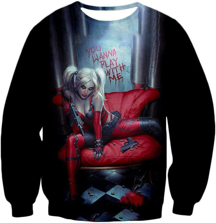 OtakuForm-OP Zip Up Hoodie Sweatshirt / XXS Ultimate Blonde Female DC Villain Crazy Harley Quinn Promo Black Zip Up Hoodie