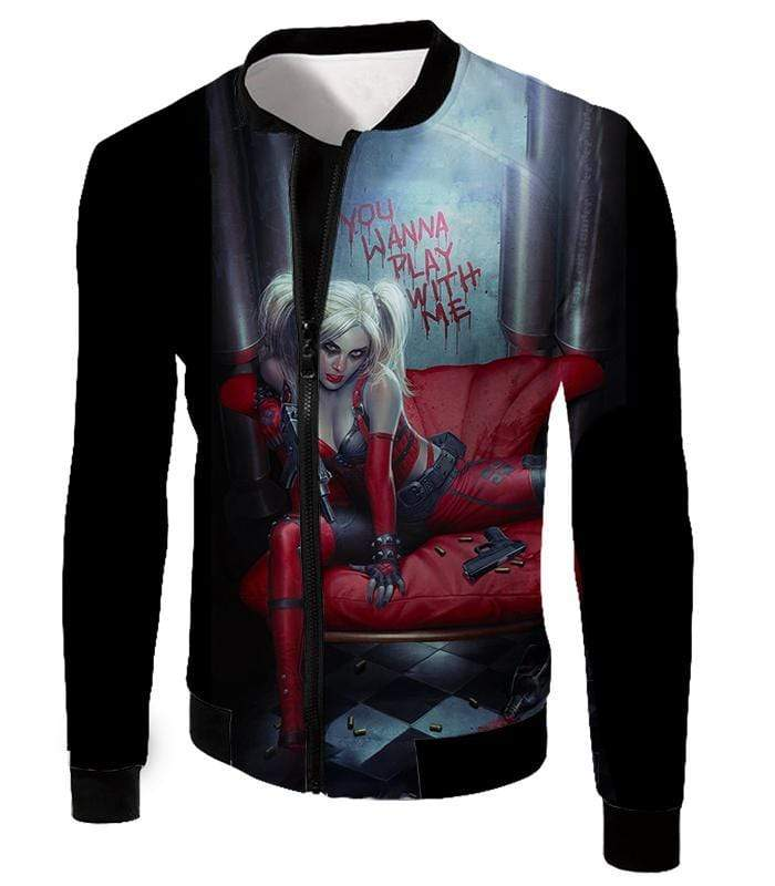 OtakuForm-OP Zip Up Hoodie Jacket / XXS Ultimate Blonde Female DC Villain Crazy Harley Quinn Promo Black Zip Up Hoodie