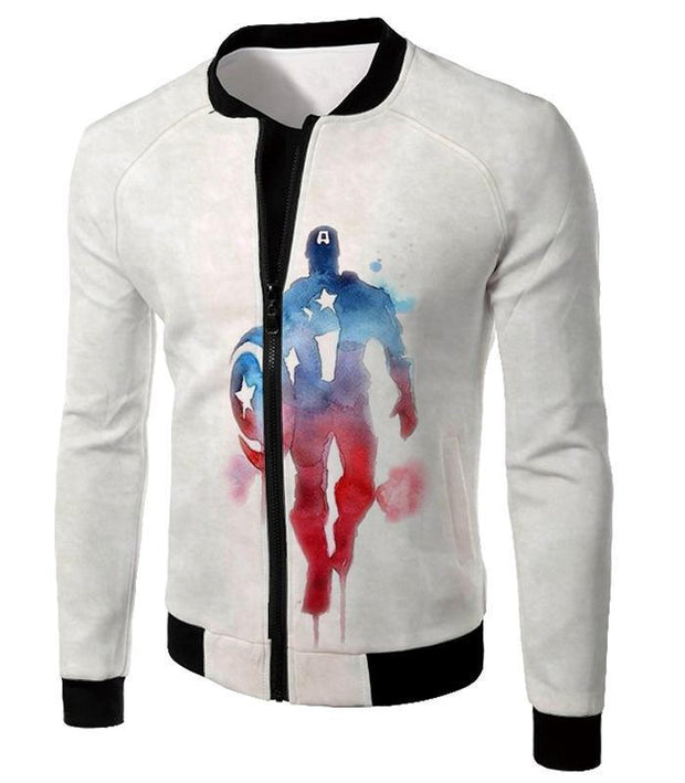 OtakuForm-OP Hoodie Jacket / XXS UltimateMarvelComic Hero Captain America Promo White Hoodie