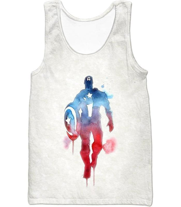OtakuForm-OP T-Shirt Tank Top / XXS UltimateMarvelComic Hero Captain America Promo White T-Shirt