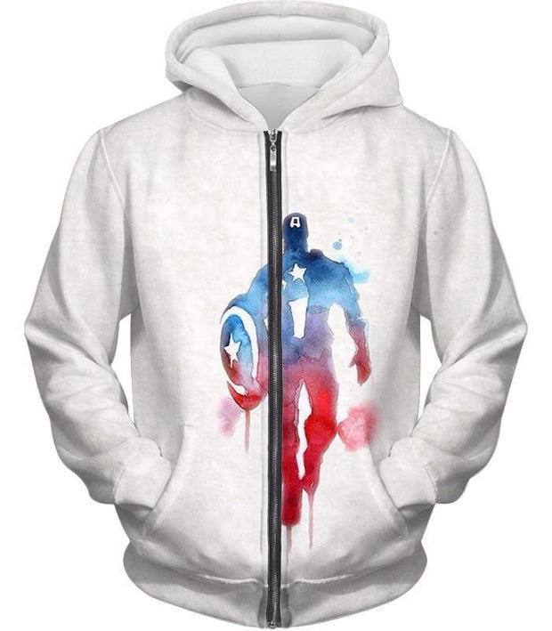 OtakuForm-OP Zip Up Hoodie Zip Up Hoodie / XXS UltimateMarvelComic Hero Captain America Promo White Zip Up Hoodie