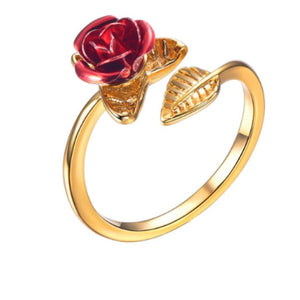 Rose Flower Ring - Resizable / Gold