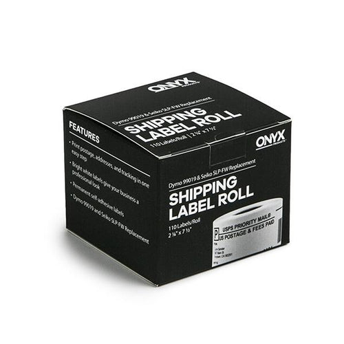 "ONYX Products<sup>&reg;</sup> 2 1/8"" x 7 1/2"" DYMO & Seiko Compatible Shipping Label Roll, 110 Labels/Roll"