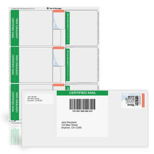 Certified Mail Labels with Postage Receipt