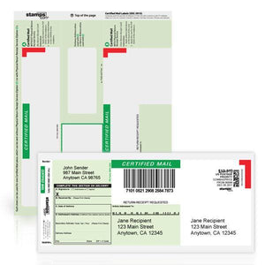 Certified Mail Labels with Return Receipt