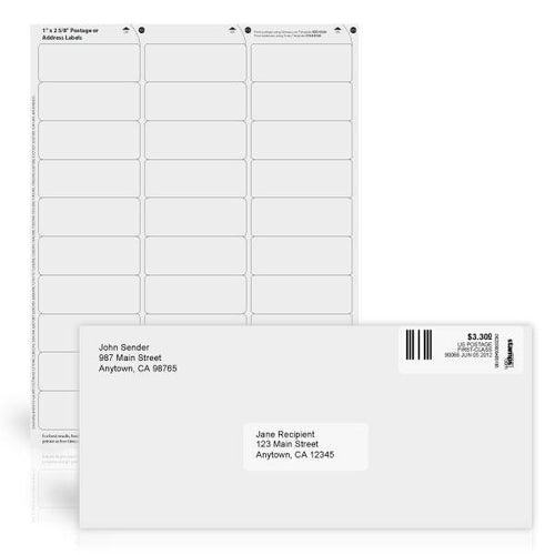 "1"" x 2 5/8"" White Postage or Address Labels"