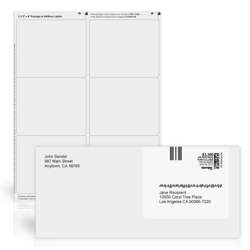 "3 1/3"" x 4"" White Postage or Address Labels"