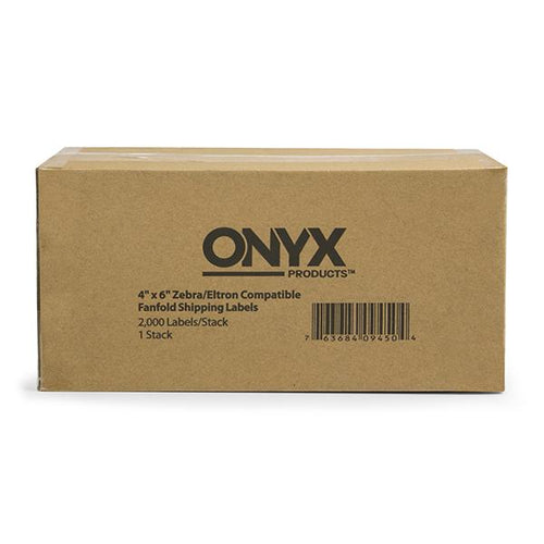 "ONYX Products<sup>&reg;</sup> 4"" x 6"" Zebra/Eltron Compatible Fanfold Shipping Labels, 2000 Labels/Stack"