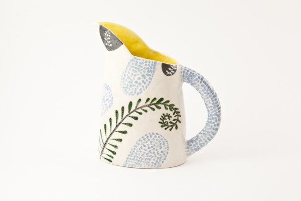 Laurence Simon - White And Yellow Jug With Blue Fern