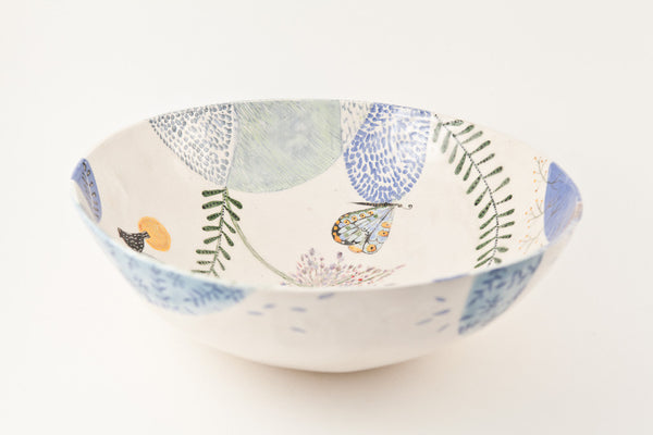 Laurence Simon - Round Bowl With Ferns And Butter Flies And Birds