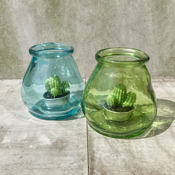 Recycled glass tealight holder / Vase