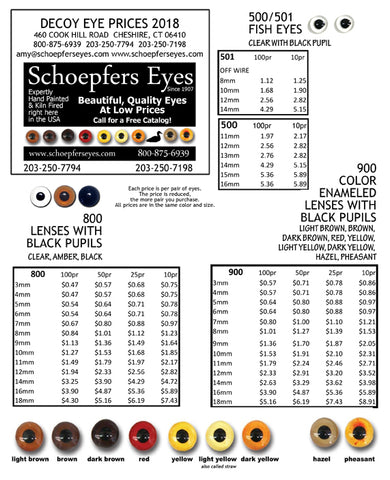 Decoy Eye Chart Prices, Colors and Sizes  www.schoepferseyes.com