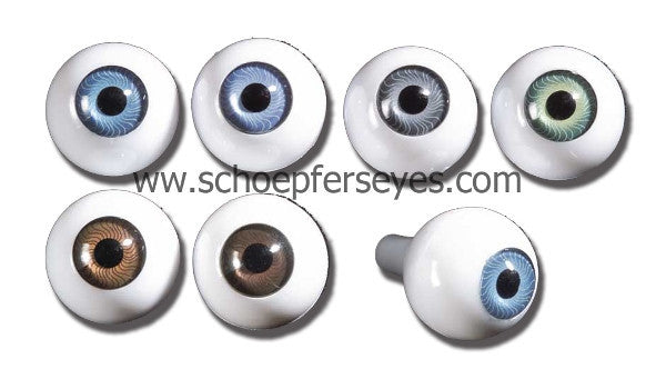 Blue Blown Glass Round Doll Eyes with a Crystal Lense