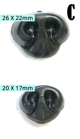 Teddy Bear Noses - Black with Safety Backing 4 pc