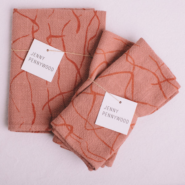 JENNY PENNYWOOD || DUSTY CORAL NAPKINS OR TEA TOWEL
