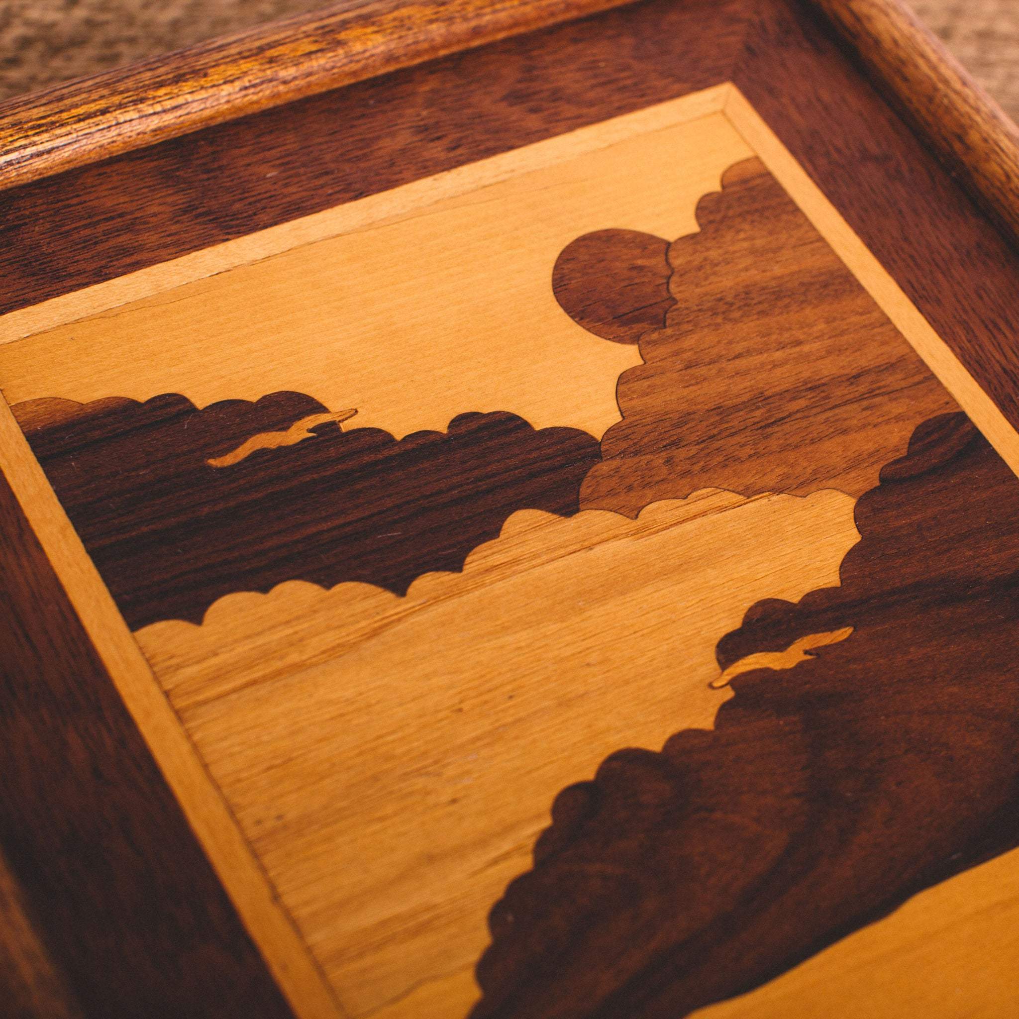 VINTAGE || CLOUDS & MOUNTAINS WOOD INLAY WALL ART