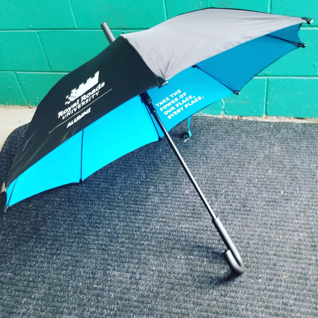 Custom Umbrellas With Blue Interior for Victoria University