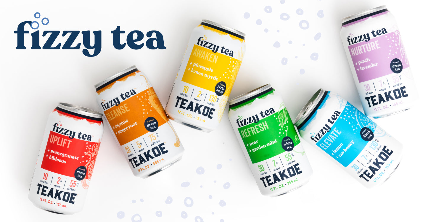 TEAKOE Fizzy Tea | Organic Good-For-You Functional RTD Beverages made with purposeful ingredients.