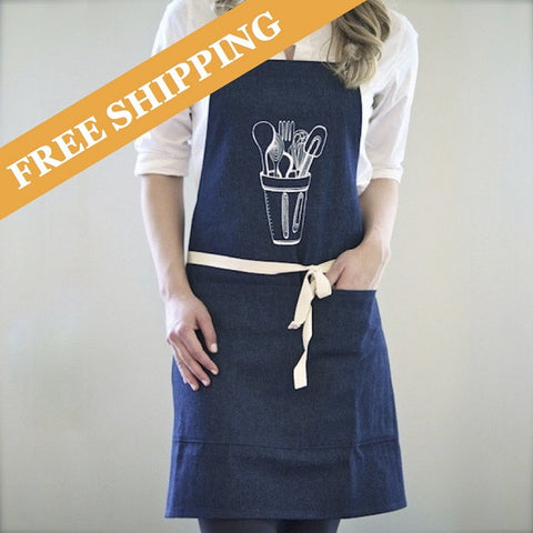 Kitchen Apron, Denim/White