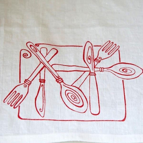 Cutlery Tea Towel, White/Red