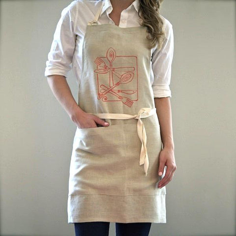 Cutlery Apron, Beige/Orange