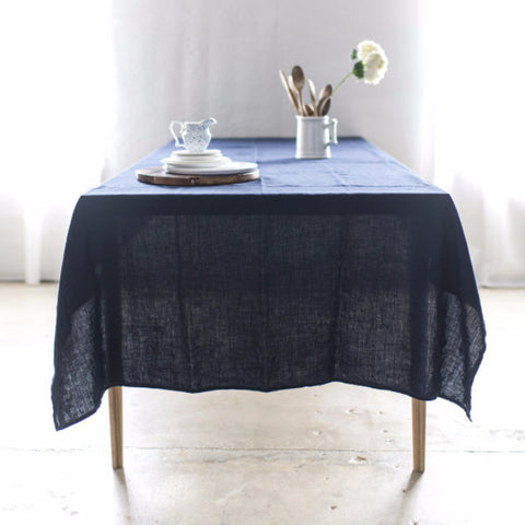 Washed Linen Navy Tablecloth