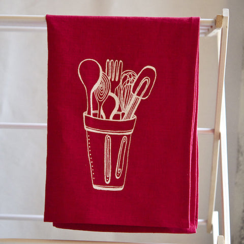 Kitchen Towel, Red/White