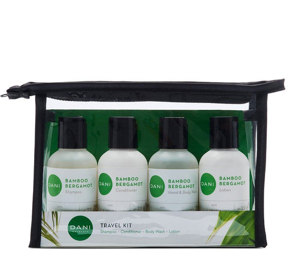 Bamboo Bergamot Travel Size Toiletries Kit - For Men & Women
