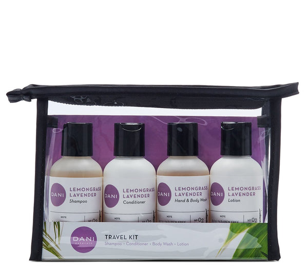 Lemongrass Lavender Travel Size Toiletries Kit - 4 x 2 oz