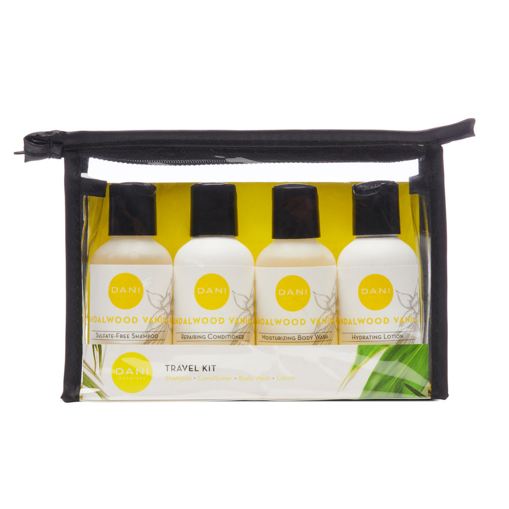 Sandalwood Vanilla Travel Size Toiletries Kit - 4 x 2 oz