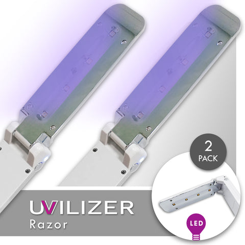 UVILIZER Razor (2 Pack) - UV Light Sanitizer & Ultraviolet LED Sterilizer Wand (Foldable 3W UV-C Disinfection Bulb / Portable UVC Cleaner)