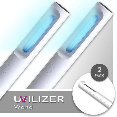 UVILIZER Wand (2 Pack) - UV Light Sanitizer & Handheld Ultraviolet Sterilizer (Rechargeable 5W UV-C Disinfection Bulb / Portable UVC Cleaner)