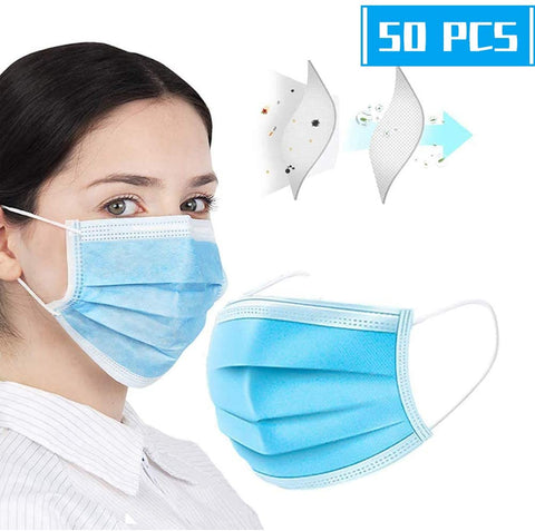 Disposable Medical Face Masks (Earloop-Style, Respiratory Protection, Pack of 50)