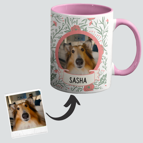 Buy Stylish Floral Dog Custom Made Mug | Online Shopping for Mugs | Dog Memorial Gifts