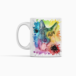 Colourful German Shepard Rainbow Dog Ceramic Mug