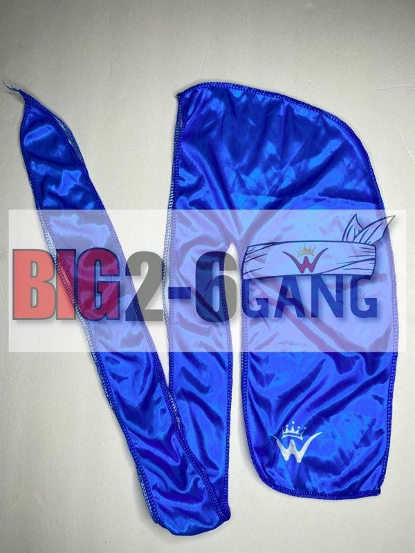 Blue w/blue stitching - Plain Silk Durags - 26 King Wavy Merch, LLC