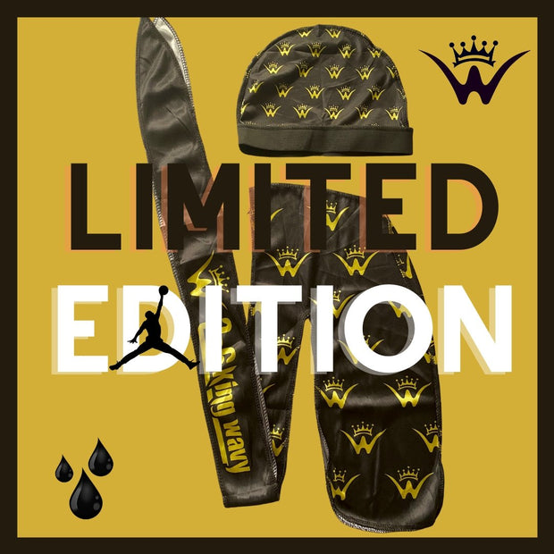 Exclusive Limited Edition Black/Gold Silk & Compression Cap Combo - 26 King Wavy Merch, LLC