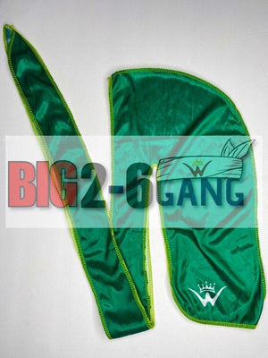 Green w/ yellow stitching - Plain Silk Durags - 26 King Wavy Merch, LLC